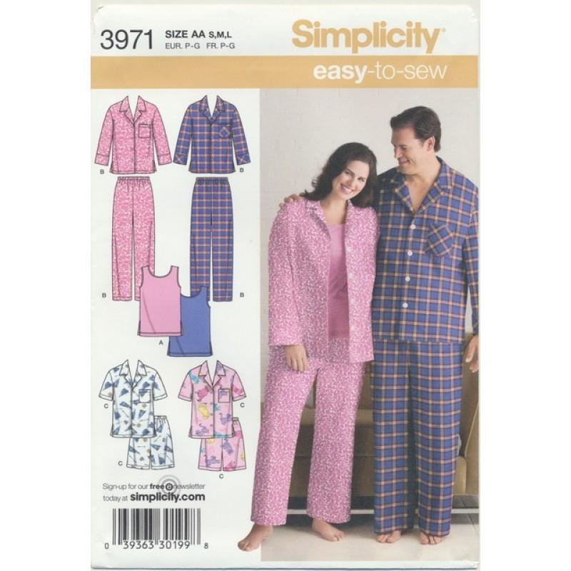 Simplicity 3971 Nattøj/pyjamas herre/dame-36