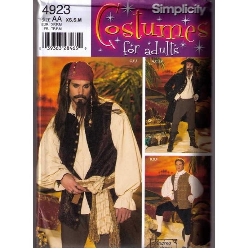 Simplicity 4923 Kostume voksne, pirat mand