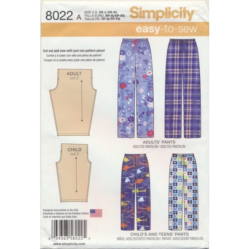 Simplicity 8022 Løs buks uden sidesøm til børn og voksne-03