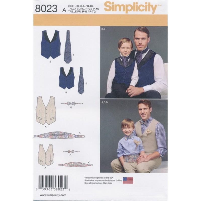 Simplicity 8023 Drenge/herre vest/slips/butterfly/skærf