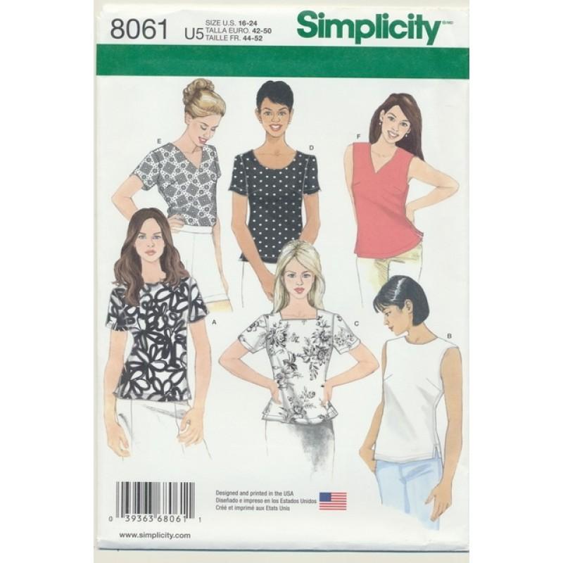 Simplicity 8061 Bluse Top til fast stof-05