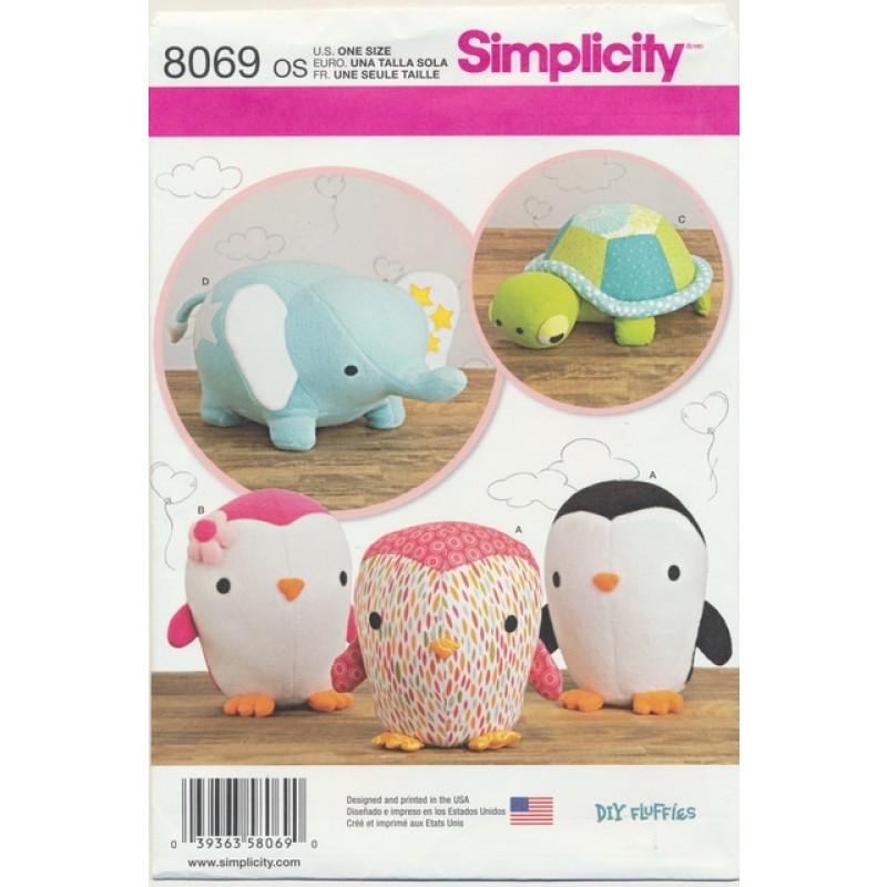 Simplicity 8069 Tøjdyr elefant pingvin skildpadde-07