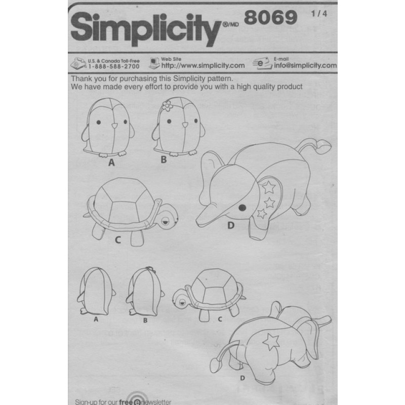Simplicity 8069 Tøjdyr elefant pingvin skildpadde-37