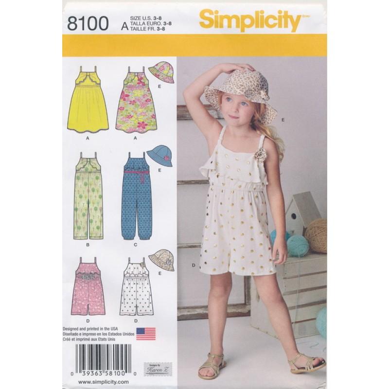 Simplicity 8100 pige strop-kjole/buksedragt/bøllehat-35
