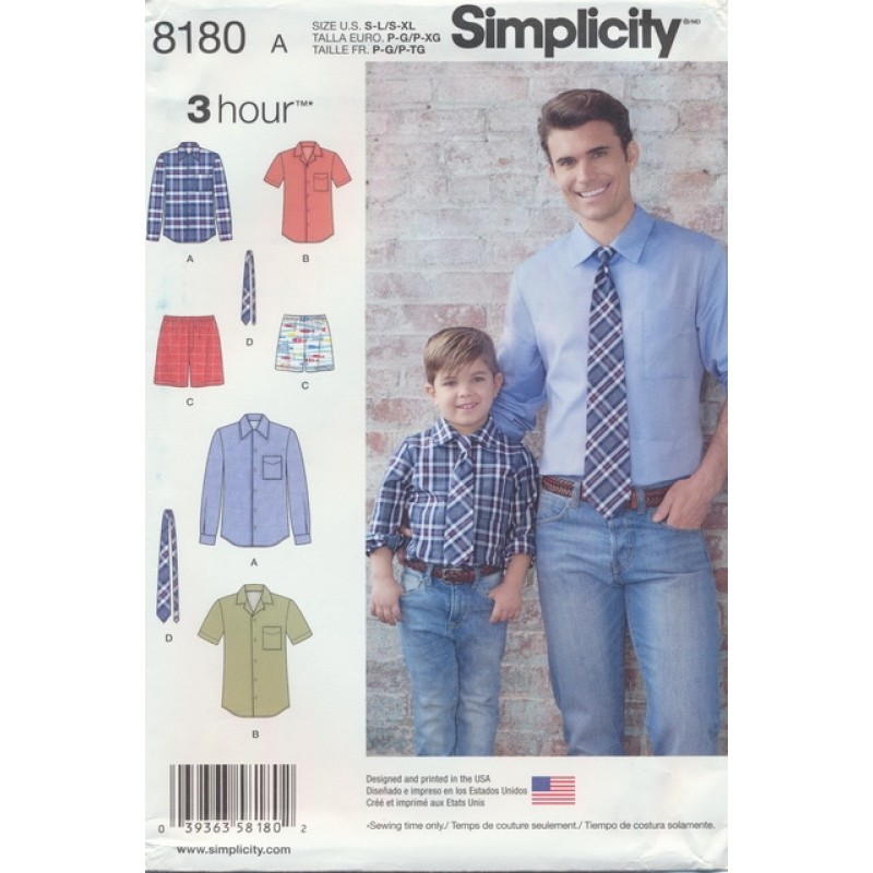Simplicity 8180 Drenge/herre skjorte/slips-36