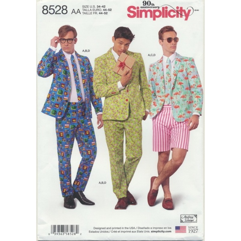 Simplicity 8528 Herre habit jakke, bukser, shorts og slips-02