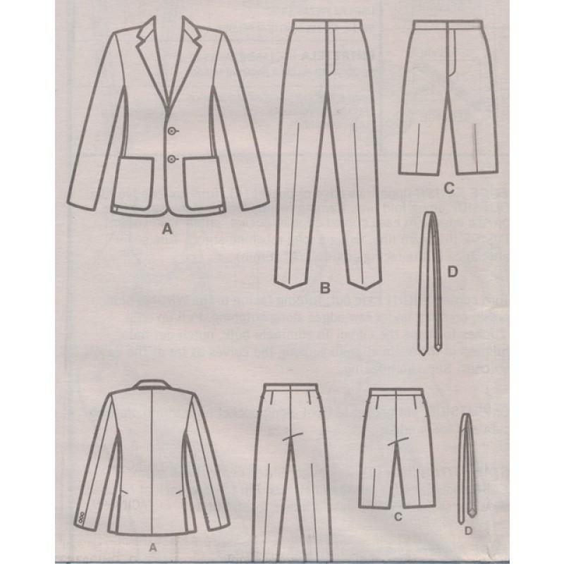Simplicity 8528 Herre habit jakke, bukser, shorts og slips