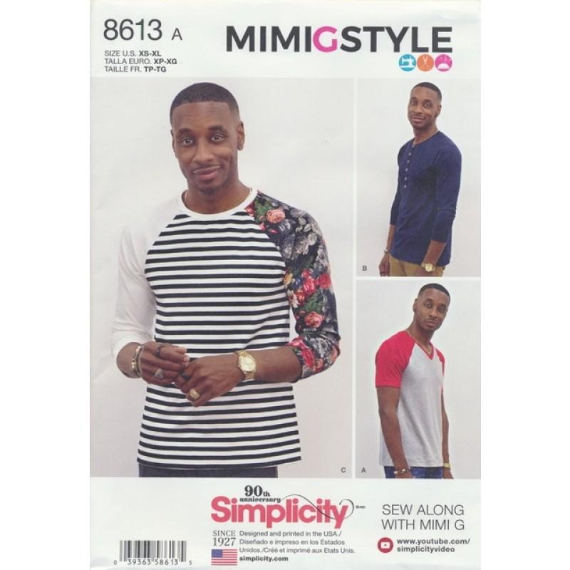 Simplicity 8613 Herre t-shirt med rund og V-hals-02