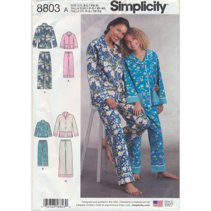 Simplicity 8803 Pyjamas til dame og pige-34