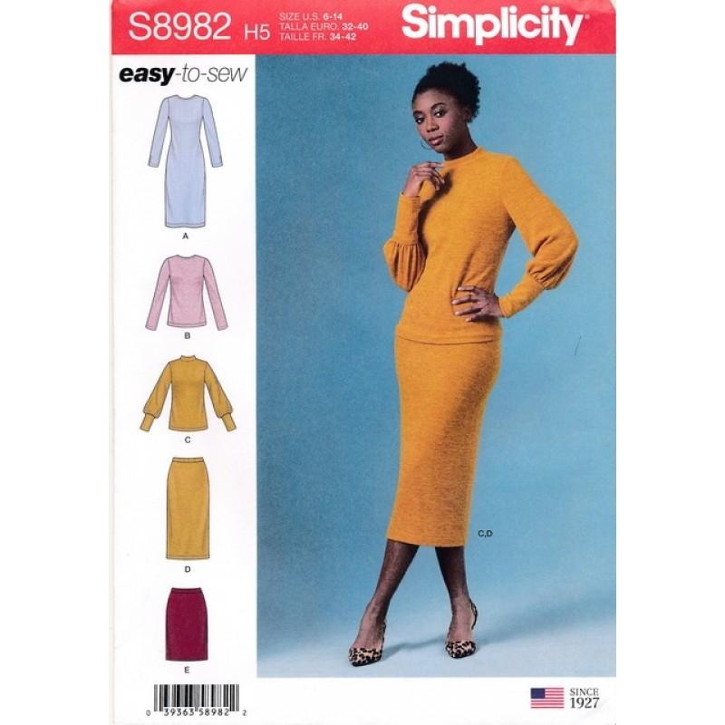 Simplicity 8982 Kjole bluse og nederdel til strikstof-35