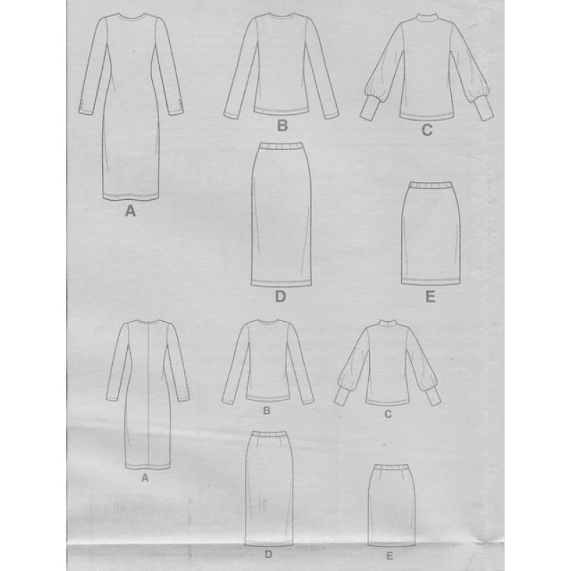Simplicity 8982 Kjole bluse og nederdel til strikstof-05