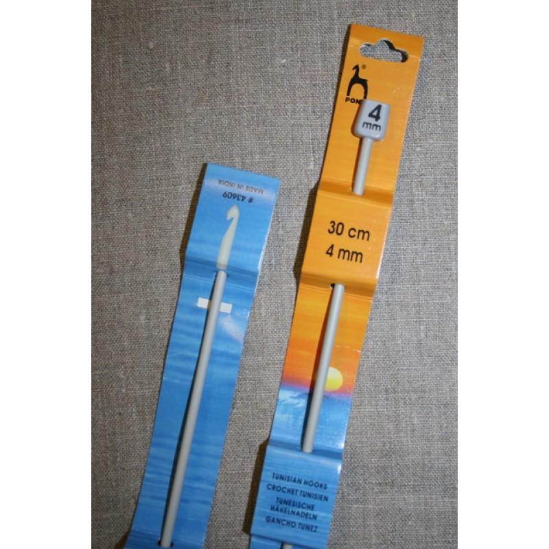 Hakkenål/Tunesisk hæklenål, 4 mm.