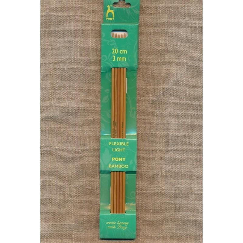 Pony strømpepinde i lys bambus str.3