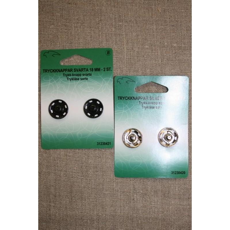 Tryklåse 18 mm. sort og sølv