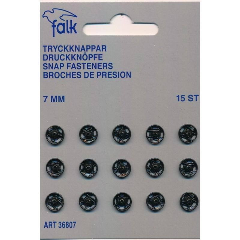 Tryklåse 7 mm. sort - 15 stk.
