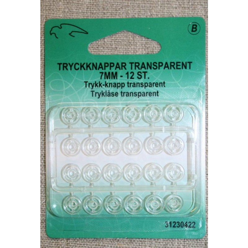 Tryklåse transparent 7 mm.-33
