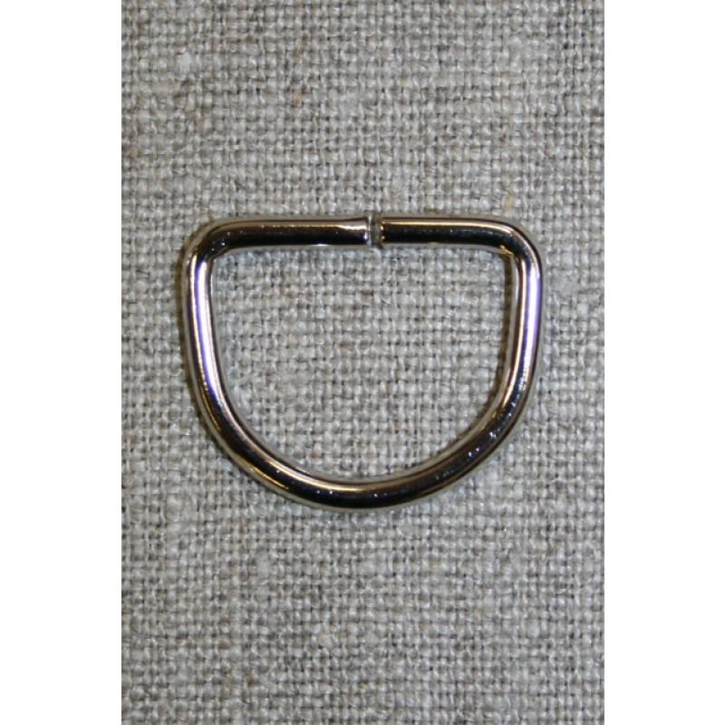 D-ring sølv, 20 mm.-35