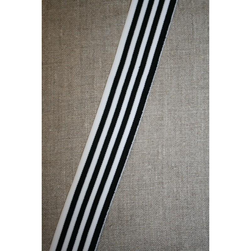 Elastik til undertøj 30 mm. stribet sort - hvid