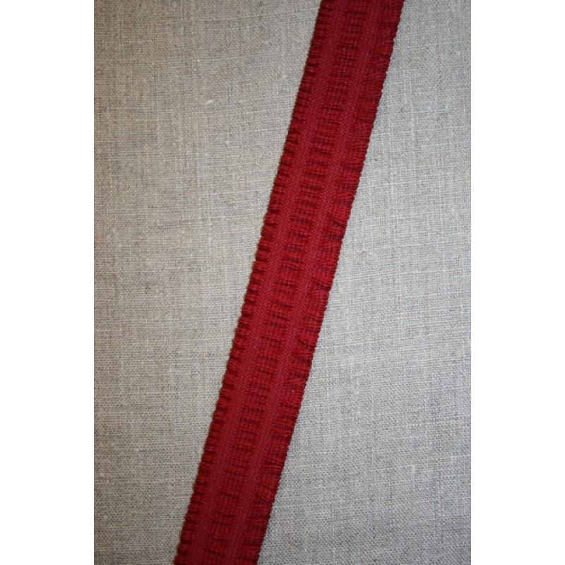 Elastik med flæse-kant, mørk rød 30 mm.-33
