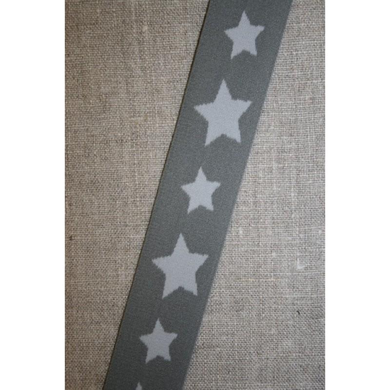 Elastik til undertøj 30 mm. med stjerner, grå-lysegrå-35