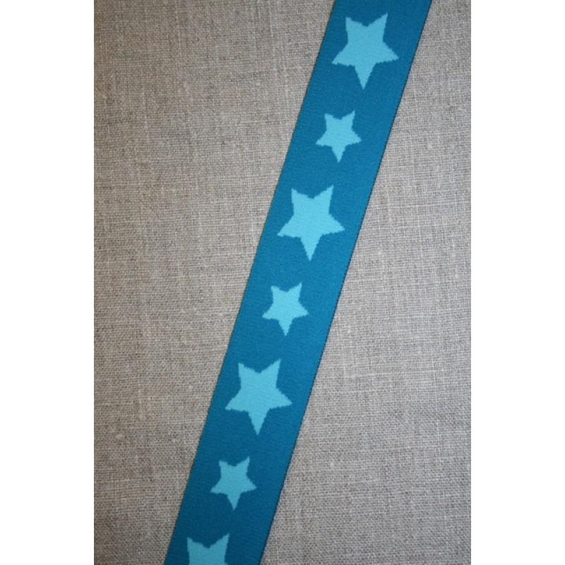 Elastik til undertøj 30 mm. med stjerner, petrol-turkis-35