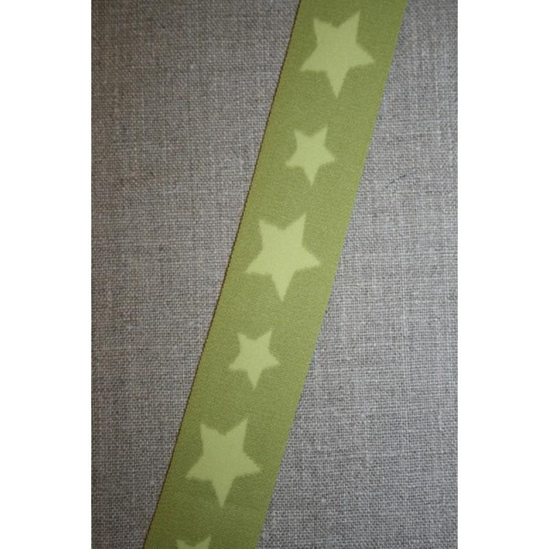 Elastik til undertøj 30 mm. med stjerner, lime-lys lime