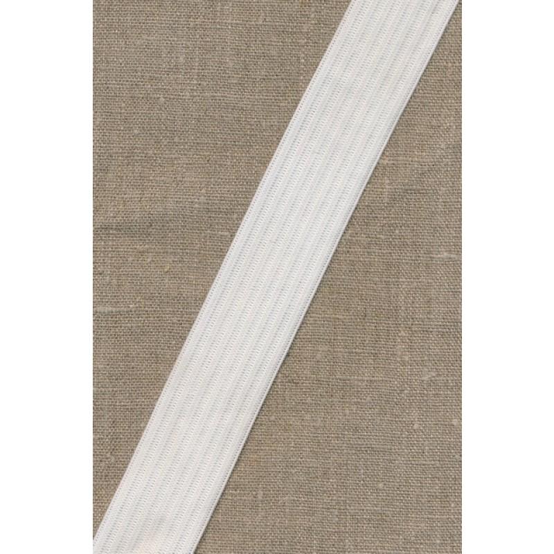 35 mm. hvid elastik med riller-35