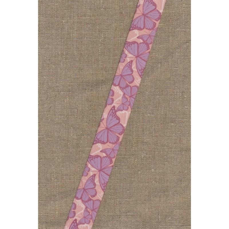 Elastik til undertøj 30 mm. rosa med sommerfugle-36