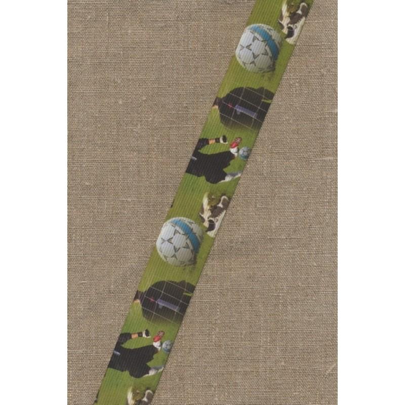 Elastik til undertøj 33 mm. grøn med fodbold
