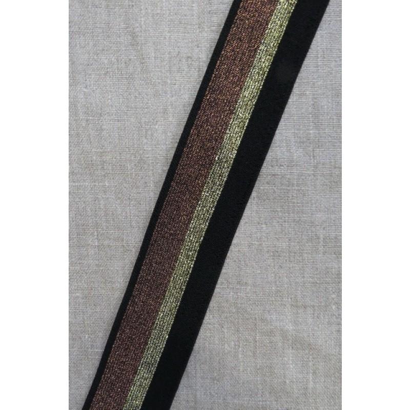 Elastik med glimmer 40 mm. sort guld kobber-39