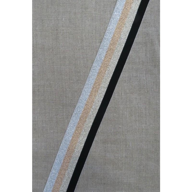 Elastik med glimmer 40 mm. sort guld kobber sølv-310