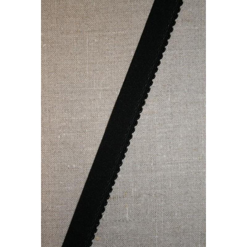 Elastik med buet kant, sort