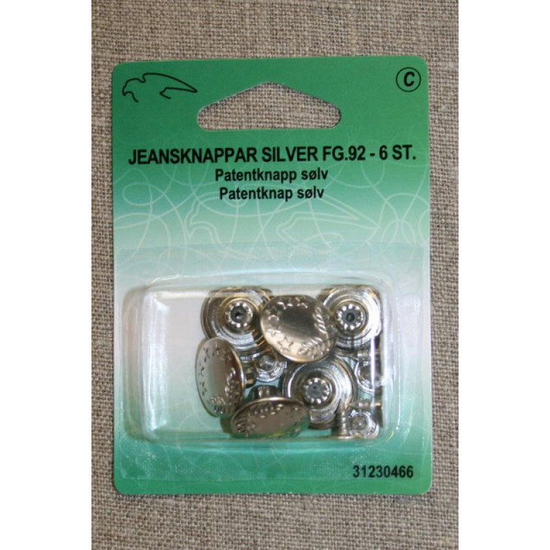 Patent-/Jeans knap, sølv-31