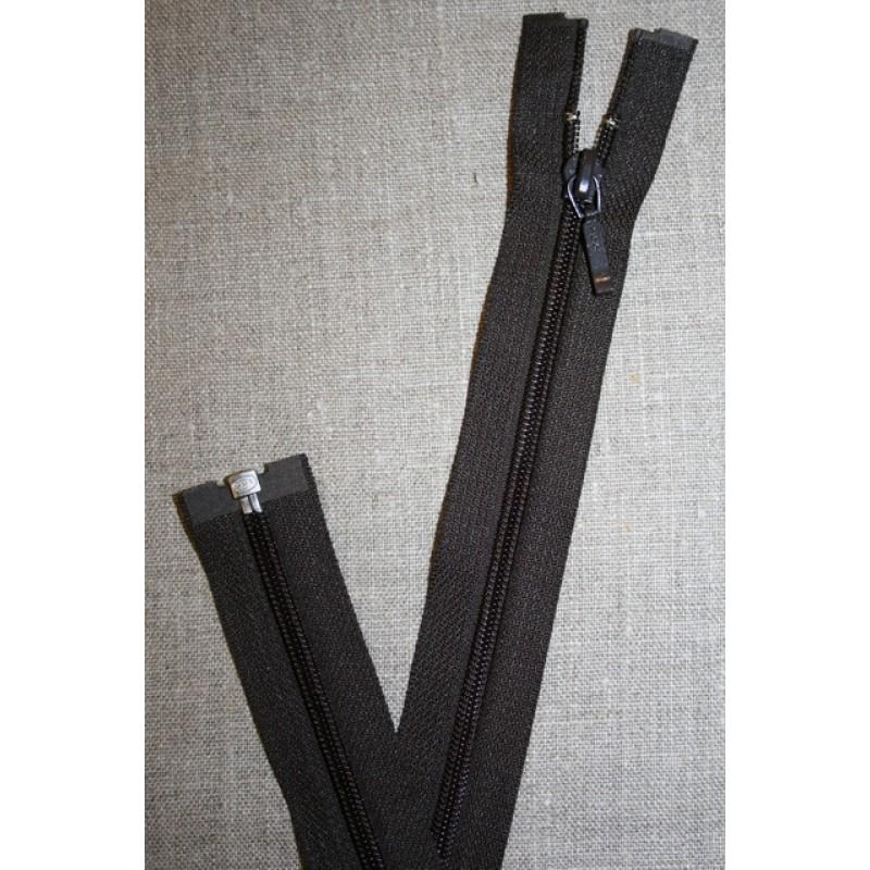 39 cm. delbar lynlås YKK mørkebrun