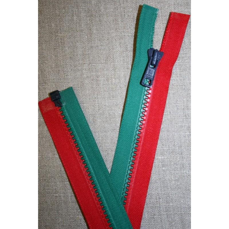 32 cm. delbar lynlås rød og grøn-33