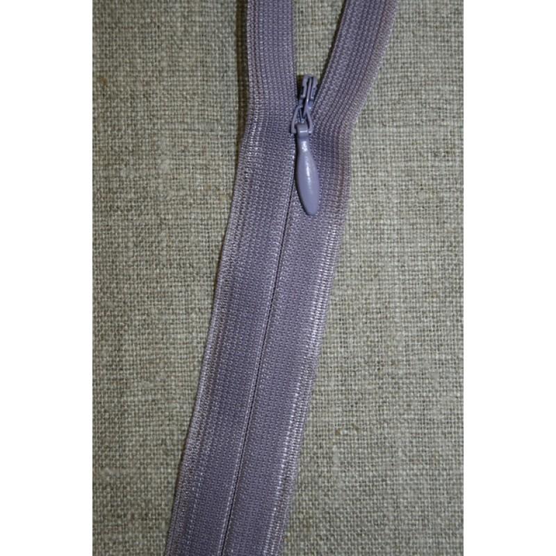 40 cm. usynlig lynlåse, lyselilla/lyng