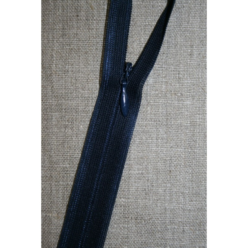 40 cm. usynlig lynlåse, marine blå