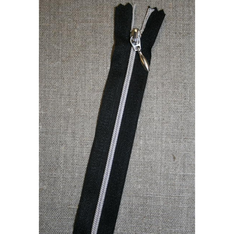 30-70 cm. delbar lynlås sort/sølv-31