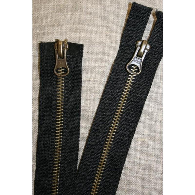80 cm. 2-vejs jakke-lynlås 6 mm. antik messing/sort-31