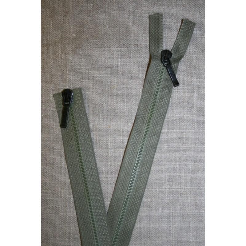 80 cm. lynlås 2-vejs m/sort skyder, støvet grøn