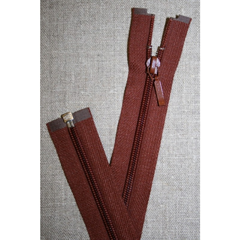 27 cm. delbar lynlås YKK, rød-brun-35