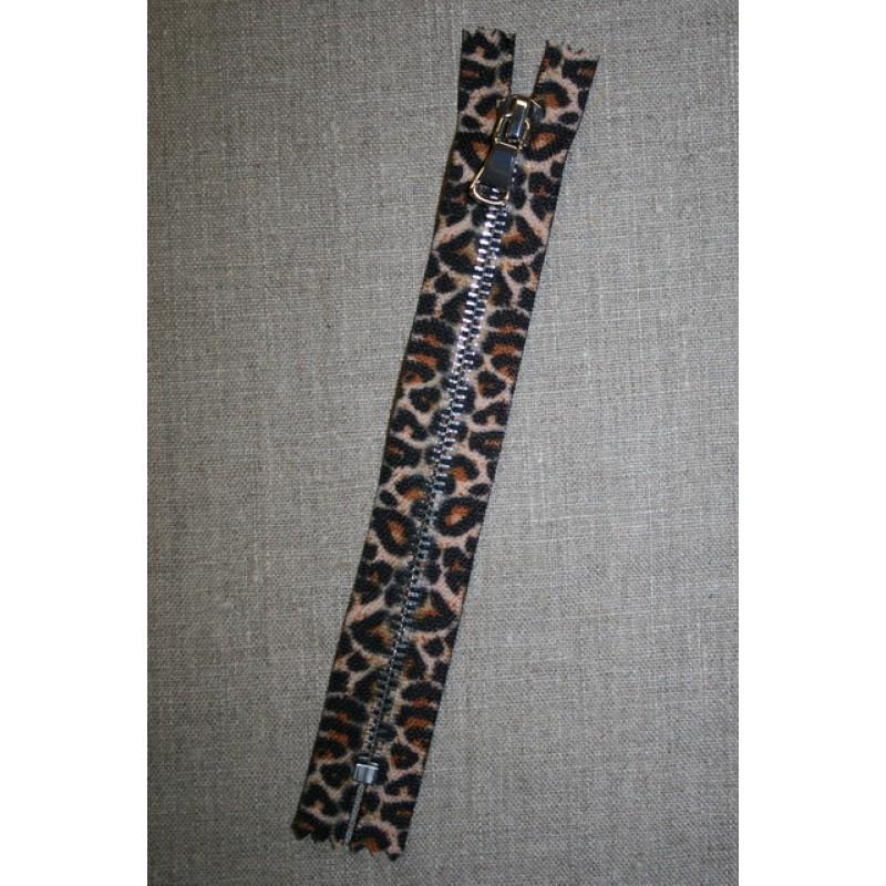 18 cm. lynlås metal leopard/sølv