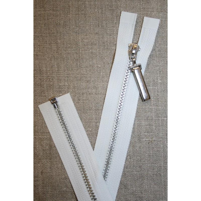 36 cm. delbar lynlås hvid m/stort sølv-vedhæng-35