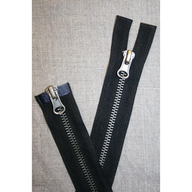 35 cm. 2-vejs delbar metal lynlås sort/gl.sølv-35