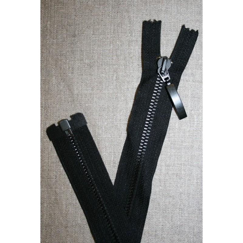42 cm. delbar metal lynlås m/stort vedhæng, sort-31