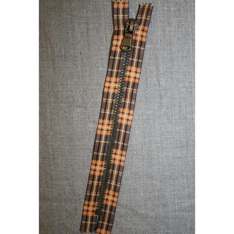 18 cm. lynlås metal orange m/skotsk tern-35
