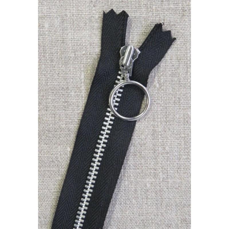 35 cm. lynlås 4 mm aluminium fast med ring i sort