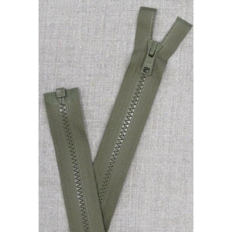 52 cm. delbar plast lynlås i oliven/army fra YKK-31