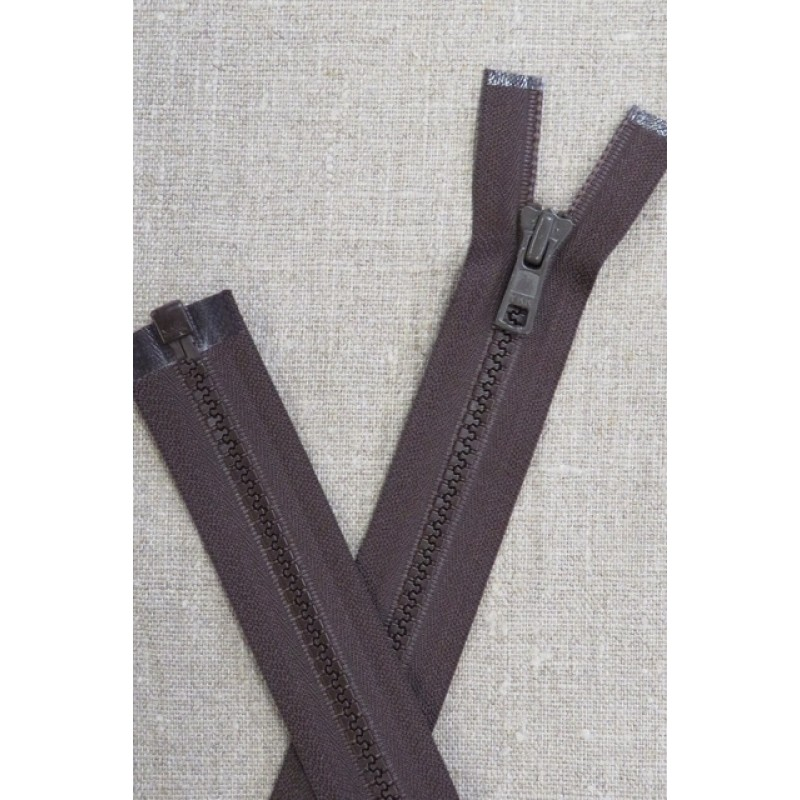 46 cm. delbar plast lynlås i mørkebrun, YKK