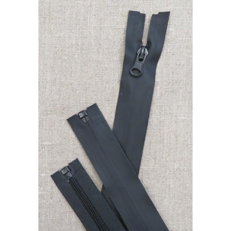 60 cm. vind/-vand afvisende delbar lynlås i sort